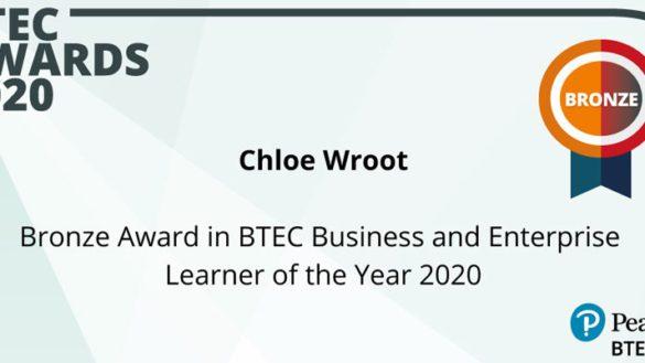 WEB Chloe Wroot Bronze Twitter 585x329 - Sutton in Craven Student Wins Prestigious Business & Enterprise BTEC 2020 Award